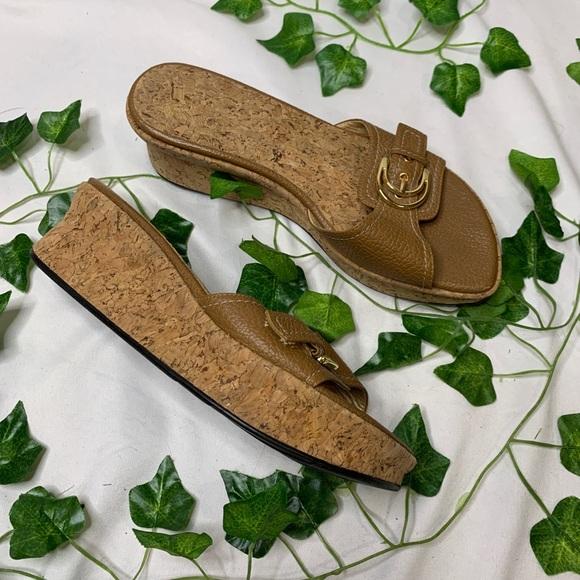 Stuart Weizmann Brown Cork Slip On Wedge Sandals
